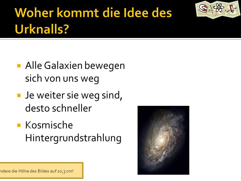 Alle Galaxien bewegen sich von uns weg Je weiter sie weg sind, desto schneller Kosmische Hintergrundstrahlung Ändere die Höhe des Bildes auf 10,3 cm!