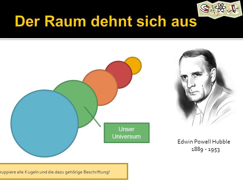Edwin Powell Hubble 1889 - 1953 Unser Universum Gruppiere alle Kugeln und die dazu gehörige Beschriftung!
