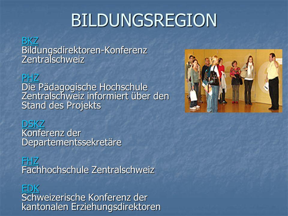 BILDUNGSREGION BKZ BKZ Bildungsdirektoren-Konferenz Zentralschweiz PHZ Die Pädagogische Hochschule Zentralschweiz informiert über den Stand des Projekts DSKZ Konferenz der Departementssekretäre FHZ Fachhochschule Zentralschweiz EDK Schweizerische Konferenz der kantonalen Erziehungsdirektoren BKZ Bildungsdirektoren-Konferenz Zentralschweiz PHZ Die Pädagogische Hochschule Zentralschweiz informiert über den Stand des Projekts DSKZ Konferenz der Departementssekretäre FHZ Fachhochschule Zentralschweiz EDK Schweizerische Konferenz der kantonalen Erziehungsdirektoren PHZ DSKZ FHZ EDK BKZ PHZ DSKZ FHZ EDK
