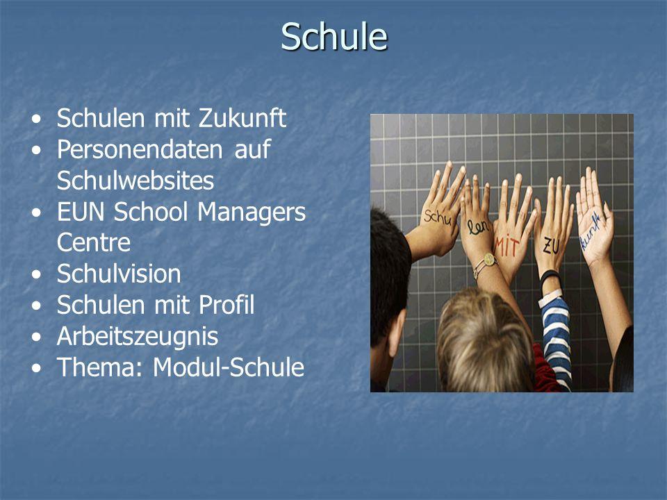 Schule Schulen mit Zukunft Personendaten auf Schulwebsites EUN School Managers Centre Schulvision Schulen mit Profil Arbeitszeugnis Thema: Modul-Schule