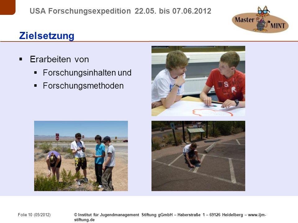 Folie 10 (05/2012) © Institut für Jugendmanagement Stiftung gGmbH – Haberstraße 1 – 69126 Heidelberg – www.ijm- stiftung.de USA Forschungsexpedition 22.05.