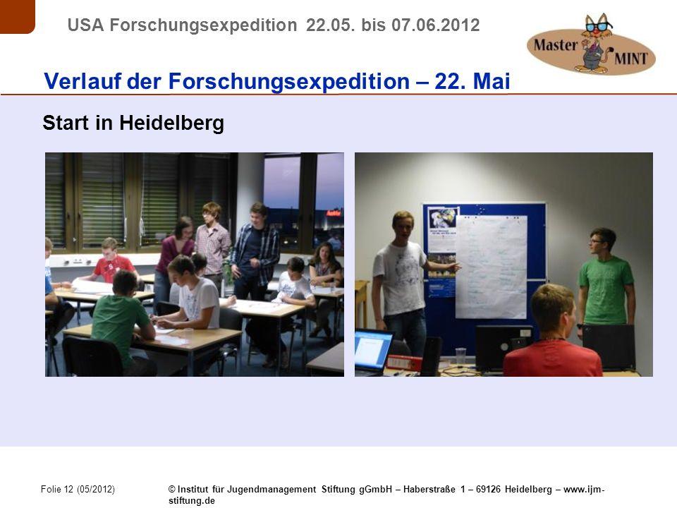 Folie 12 (05/2012) © Institut für Jugendmanagement Stiftung gGmbH – Haberstraße 1 – 69126 Heidelberg – www.ijm- stiftung.de USA Forschungsexpedition 22.05.