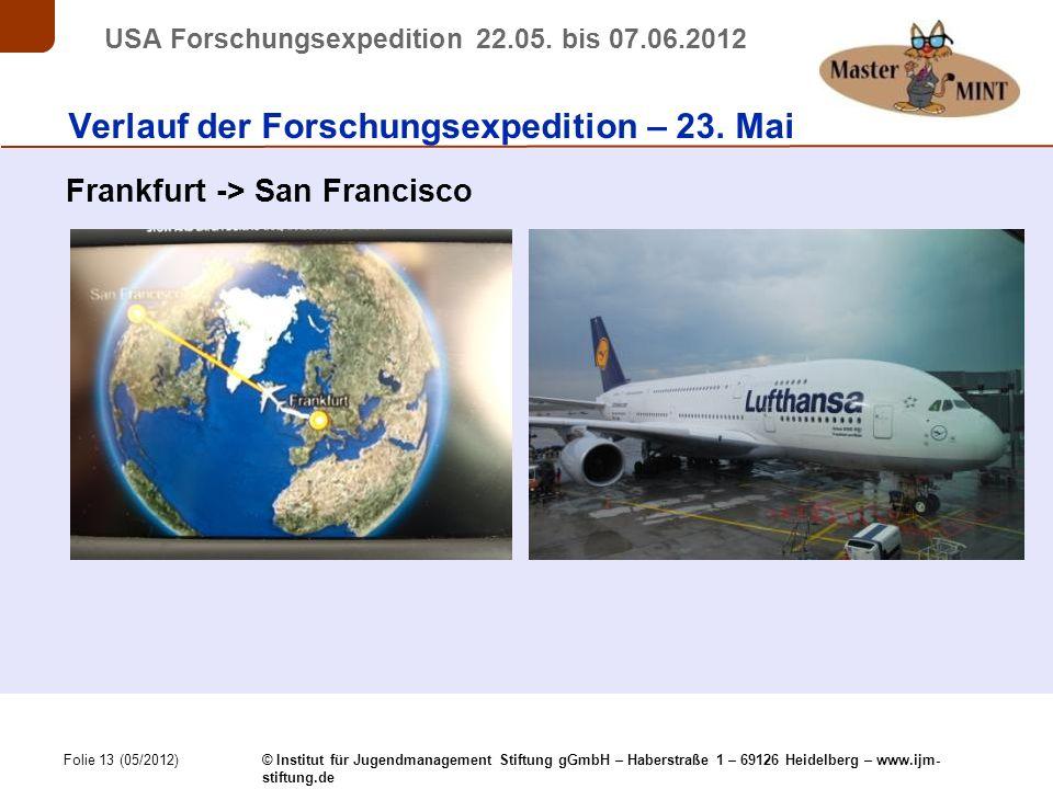 Folie 13 (05/2012) © Institut für Jugendmanagement Stiftung gGmbH – Haberstraße 1 – 69126 Heidelberg – www.ijm- stiftung.de USA Forschungsexpedition 22.05.