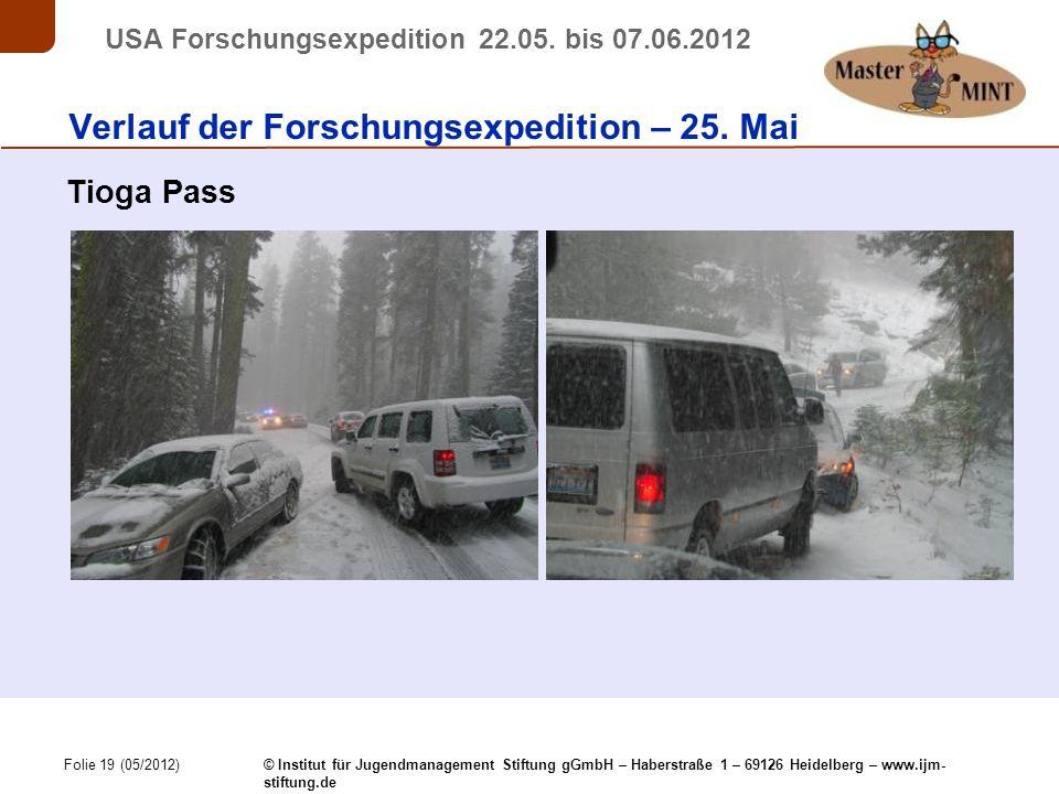 Folie 19 (05/2012) © Institut für Jugendmanagement Stiftung gGmbH – Haberstraße 1 – 69126 Heidelberg – www.ijm- stiftung.de USA Forschungsexpedition 22.05.