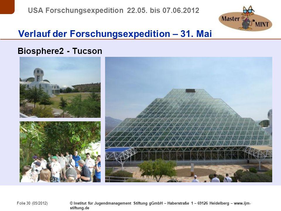 Folie 30 (05/2012) © Institut für Jugendmanagement Stiftung gGmbH – Haberstraße 1 – 69126 Heidelberg – www.ijm- stiftung.de USA Forschungsexpedition 22.05.