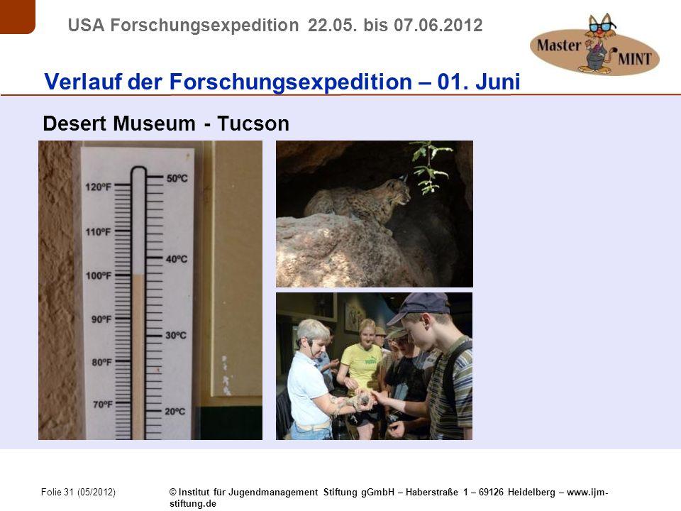 Folie 31 (05/2012) © Institut für Jugendmanagement Stiftung gGmbH – Haberstraße 1 – 69126 Heidelberg – www.ijm- stiftung.de USA Forschungsexpedition 22.05.