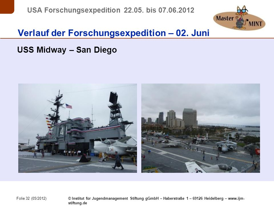 Folie 32 (05/2012) © Institut für Jugendmanagement Stiftung gGmbH – Haberstraße 1 – 69126 Heidelberg – www.ijm- stiftung.de USA Forschungsexpedition 22.05.