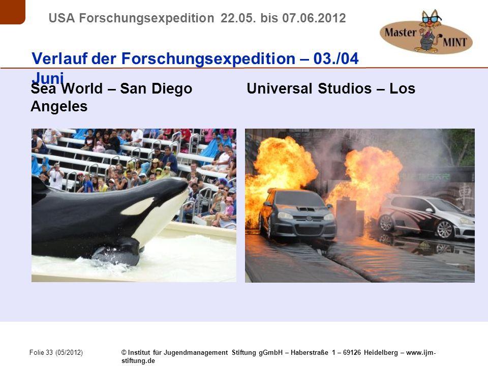 Folie 33 (05/2012) © Institut für Jugendmanagement Stiftung gGmbH – Haberstraße 1 – 69126 Heidelberg – www.ijm- stiftung.de USA Forschungsexpedition 22.05.