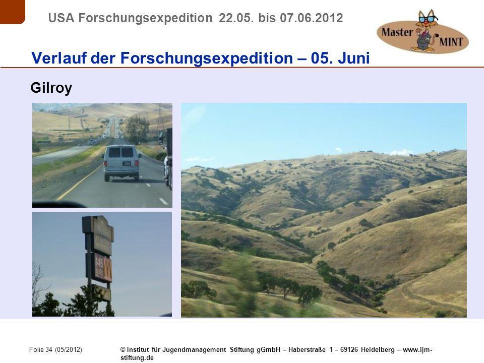 Folie 34 (05/2012) © Institut für Jugendmanagement Stiftung gGmbH – Haberstraße 1 – 69126 Heidelberg – www.ijm- stiftung.de USA Forschungsexpedition 22.05.