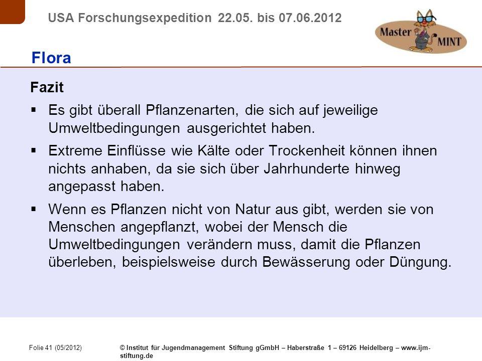 Folie 41 (05/2012) © Institut für Jugendmanagement Stiftung gGmbH – Haberstraße 1 – 69126 Heidelberg – www.ijm- stiftung.de USA Forschungsexpedition 22.05.