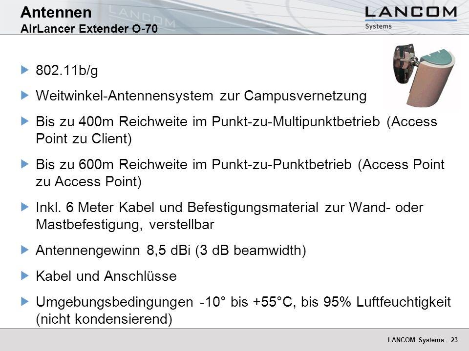 LANCOM Systems - 23 Antennen AirLancer Extender O-70 802.11b/g Weitwinkel-Antennensystem zur Campusvernetzung Bis zu 400m Reichweite im Punkt-zu-Multi