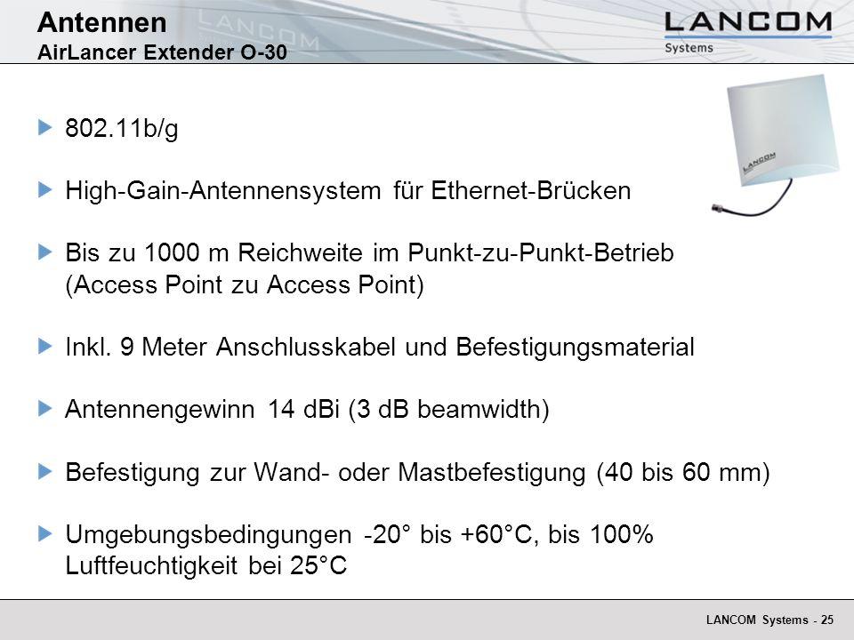 LANCOM Systems - 25 Antennen AirLancer Extender O-30 802.11b/g High-Gain-Antennensystem für Ethernet-Brücken Bis zu 1000 m Reichweite im Punkt-zu-Punk