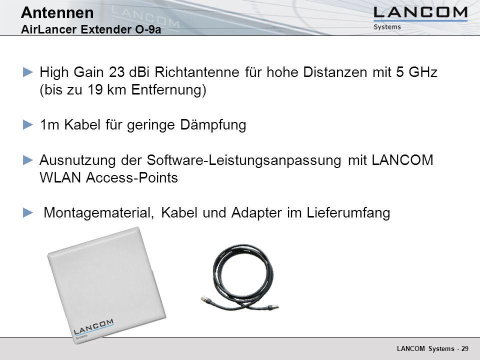 LANCOM Systems - 29 Antennen AirLancer Extender O-9a High Gain 23 dBi Richtantenne für hohe Distanzen mit 5 GHz (bis zu 19 km Entfernung) 1m Kabel für