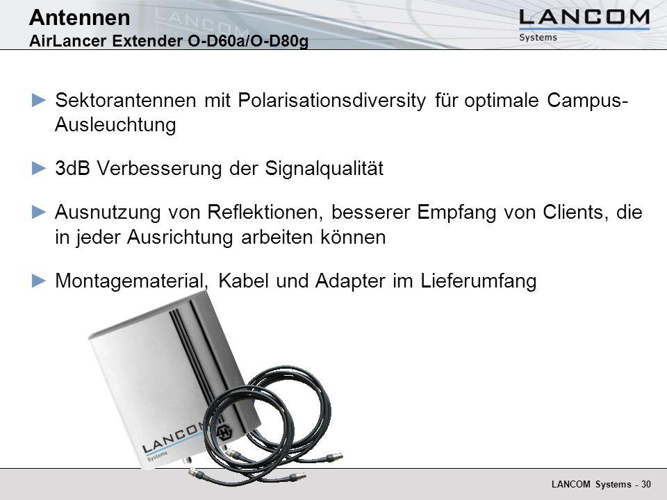 LANCOM Systems - 30 Antennen AirLancer Extender O-D60a/O-D80g Sektorantennen mit Polarisationsdiversity für optimale Campus- Ausleuchtung 3dB Verbesse