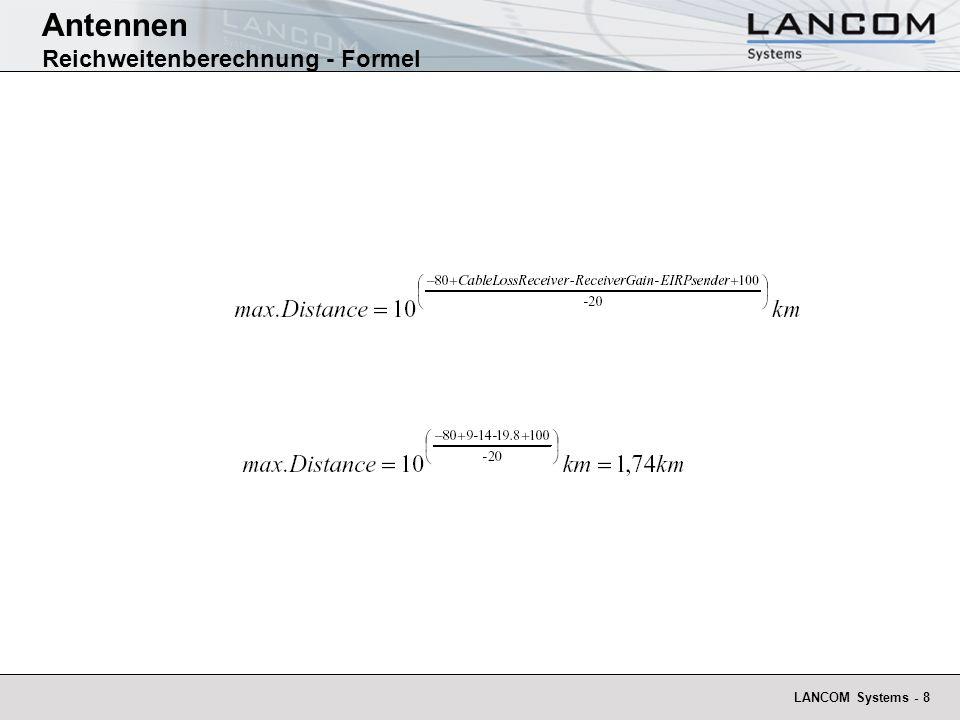 LANCOM Systems - 8 Antennen Reichweitenberechnung - Formel