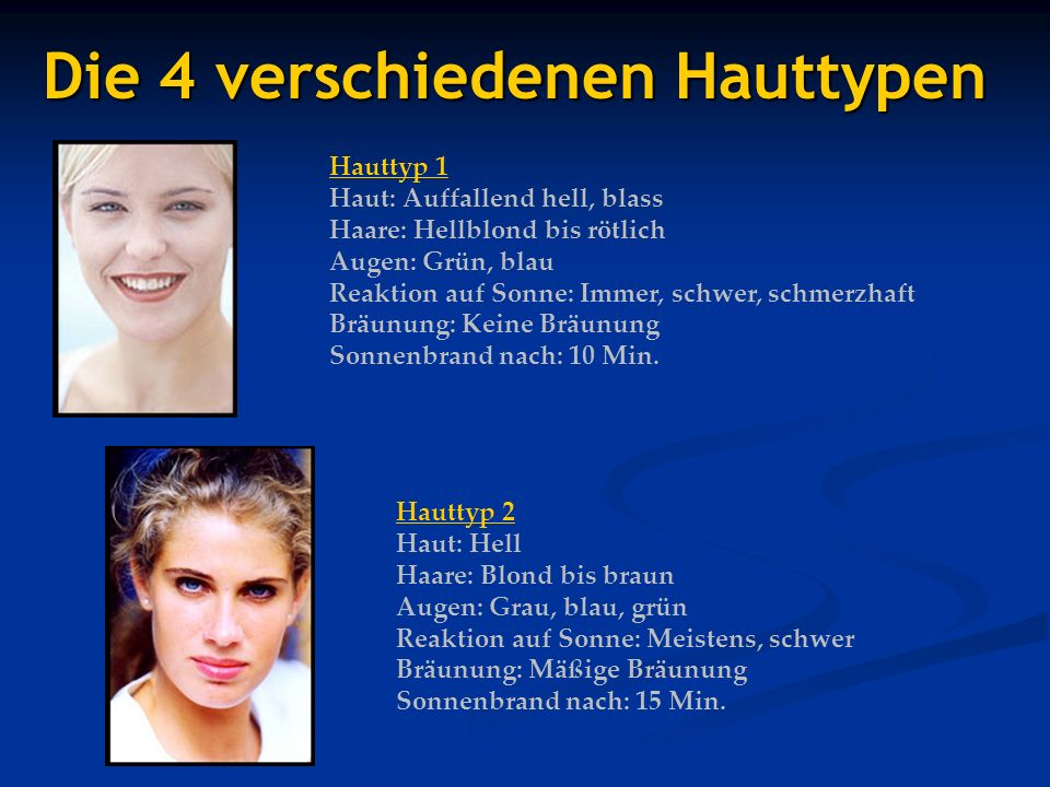 Die 4 verschiedenen Hauttypen Hauttyp 1 Haut: Auffallend hell, blass Haare: Hellblond bis rötlich Augen: Grün, blau Reaktion auf Sonne: Immer, schwer,