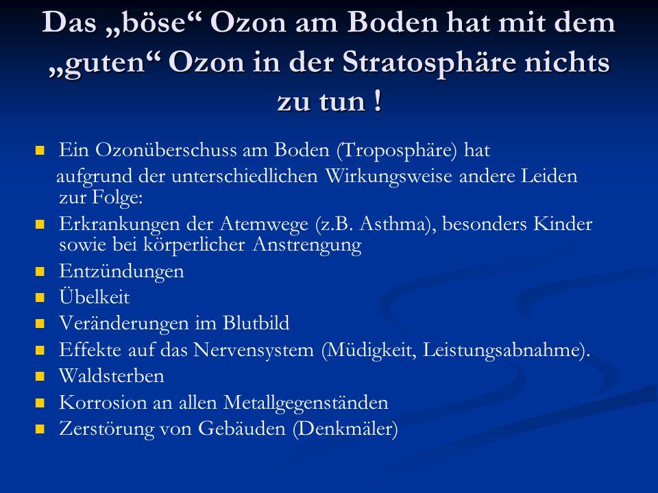 Das böse Ozon am Boden hat mit dem guten Ozon in der Stratosphäre nichts zu tun ! Ein Ozonüberschuss am Boden (Troposphäre) hat aufgrund der unterschi