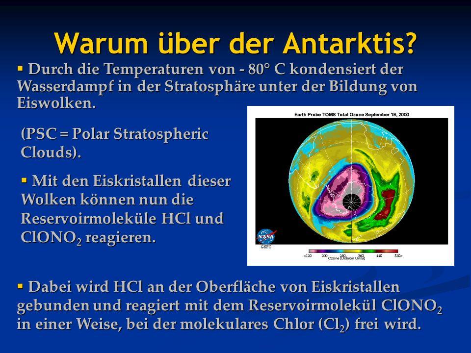 Durch die Temperaturen von - 80° C kondensiert der Wasserdampf in der Stratosphäre unter der Bildung von Eiswolken. Durch die Temperaturen von - 80° C