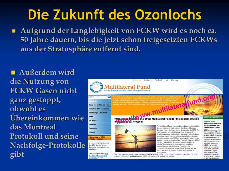 Die Zukunft des Ozonlochs Aufgrund der Langlebigkeit von FCKW wird es noch ca. 50 Jahre dauern, bis die jetzt schon freigesetzten FCKWs aus der Strato