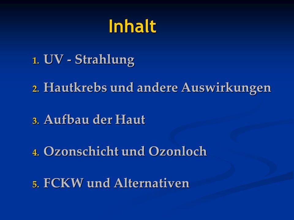 1. UV - Strahlung 2. Hautkrebs und andere Auswirkungen 3. Aufbau der Haut 4. Ozonschicht und Ozonloch 5. FCKW und Alternativen Inhalt