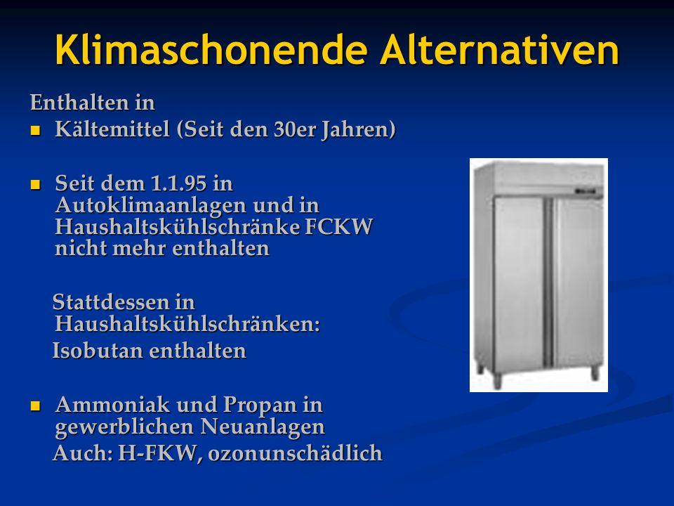 Klimaschonende Alternativen Enthalten in Kältemittel (Seit den 30er Jahren) Kältemittel (Seit den 30er Jahren) Seit dem 1.1.95 in Autoklimaanlagen und