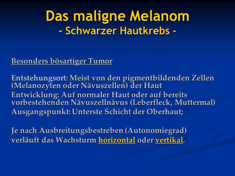 Besonders bösartiger Tumor : Meist von den pigmentbildenden Zellen (Melanozyten oder Nävuszellen) der Haut Entstehungsort: Meist von den pigmentbilden