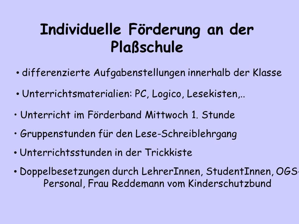 Individuelle Förderung an der Plaßschule differenzierte Aufgabenstellungen innerhalb der Klasse Unterricht im Förderband Mittwoch 1. Stunde Unterricht