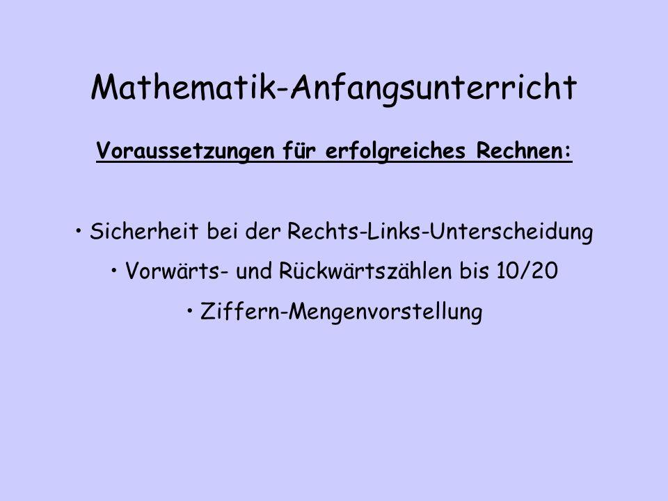 Mathematik-Anfangsunterricht Voraussetzungen für erfolgreiches Rechnen: Sicherheit bei der Rechts-Links-Unterscheidung Vorwärts- und Rückwärtszählen b