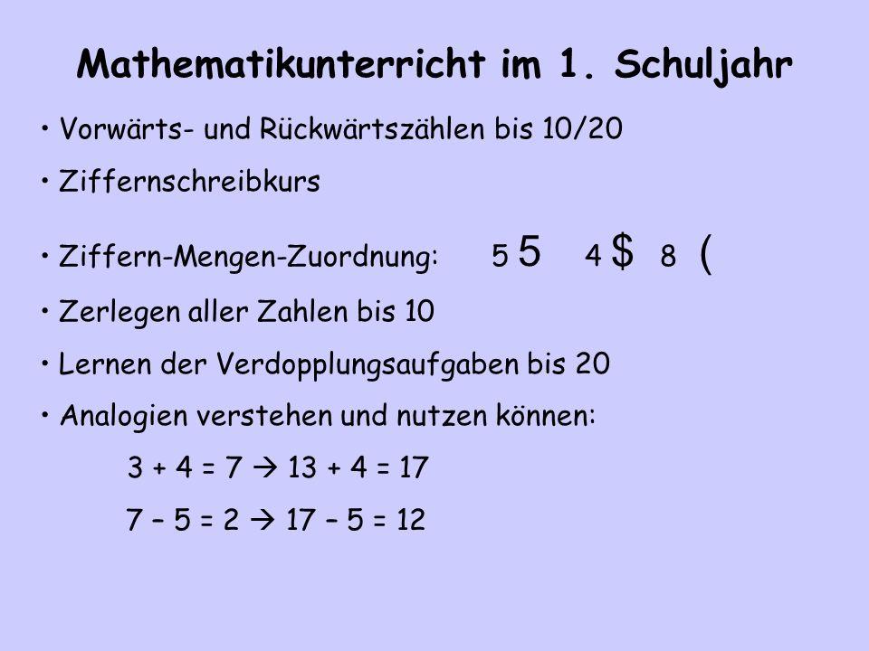 Mathematikunterricht im 1. Schuljahr Vorwärts- und Rückwärtszählen bis 10/20 Ziffernschreibkurs Ziffern-Mengen-Zuordnung: 5 5 4 $ 8 ( Zerlegen aller Z