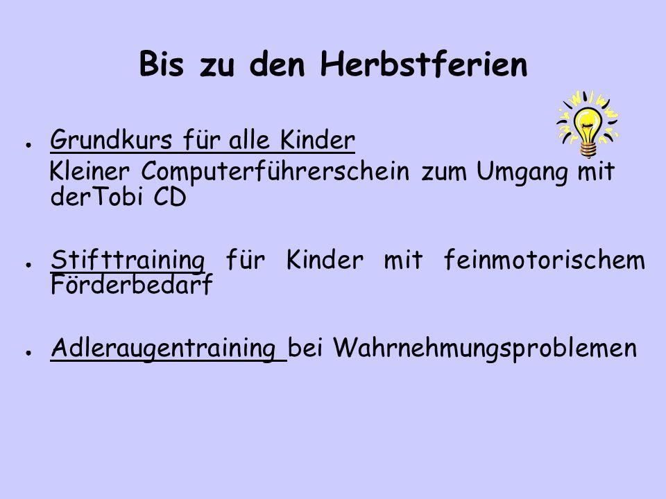 Bis zu den Herbstferien Grundkurs für alle Kinder Kleiner Computerführerschein zum Umgang mit derTobi CD Stifttraining für Kinder mit feinmotorischem