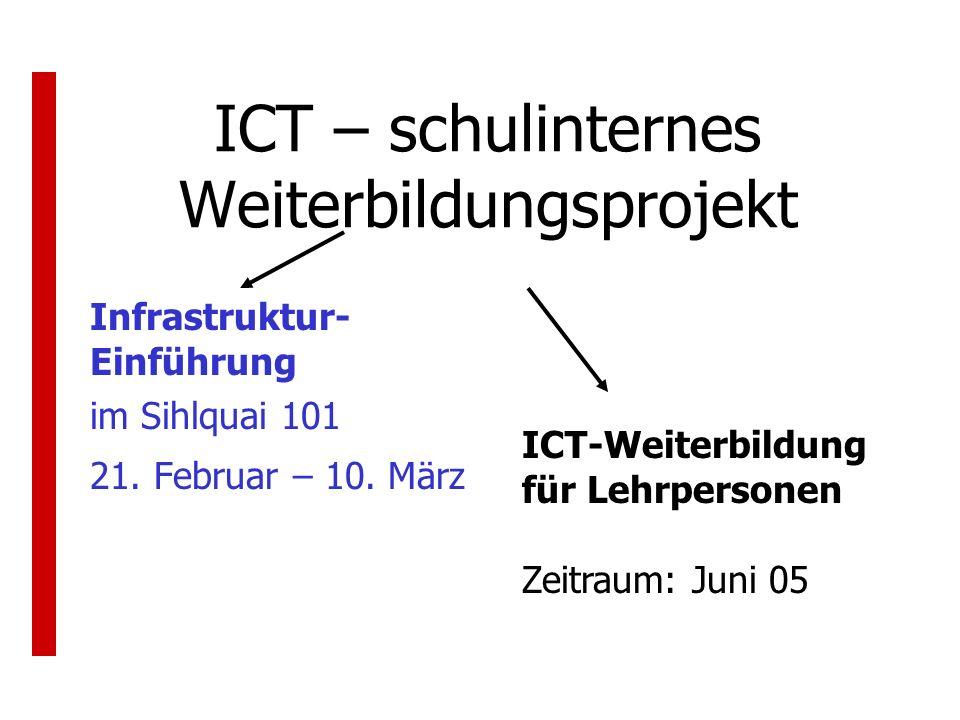 ICT – schulinternes Weiterbildungsprojekt Infrastruktur- Einführung im Sihlquai 101 21. Februar – 10. März ICT-Weiterbildung für Lehrpersonen Zeitraum