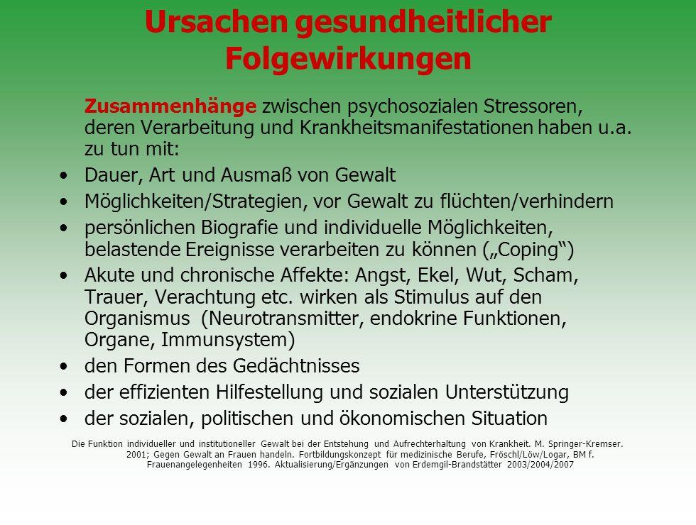 Ursachen gesundheitlicher Folgewirkungen Zusammenhänge zwischen psychosozialen Stressoren, deren Verarbeitung und Krankheitsmanifestationen haben u.a.