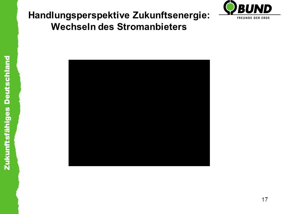 Zukunftsfähiges Deutschland 17 Handlungsperspektive Zukunftsenergie: Wechseln des Stromanbieters
