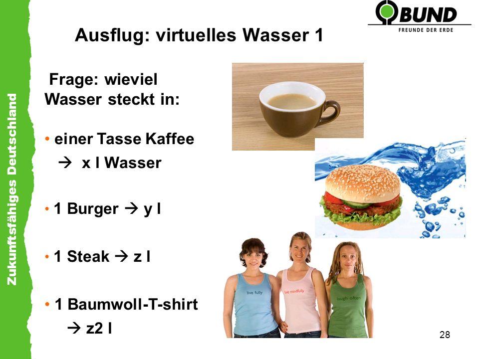 Zukunftsfähiges Deutschland 28 Ausflug: virtuelles Wasser 1 Frage: wieviel Wasser steckt in: einer Tasse Kaffee x l Wasser 1 Burger y l 1 Steak z l 1
