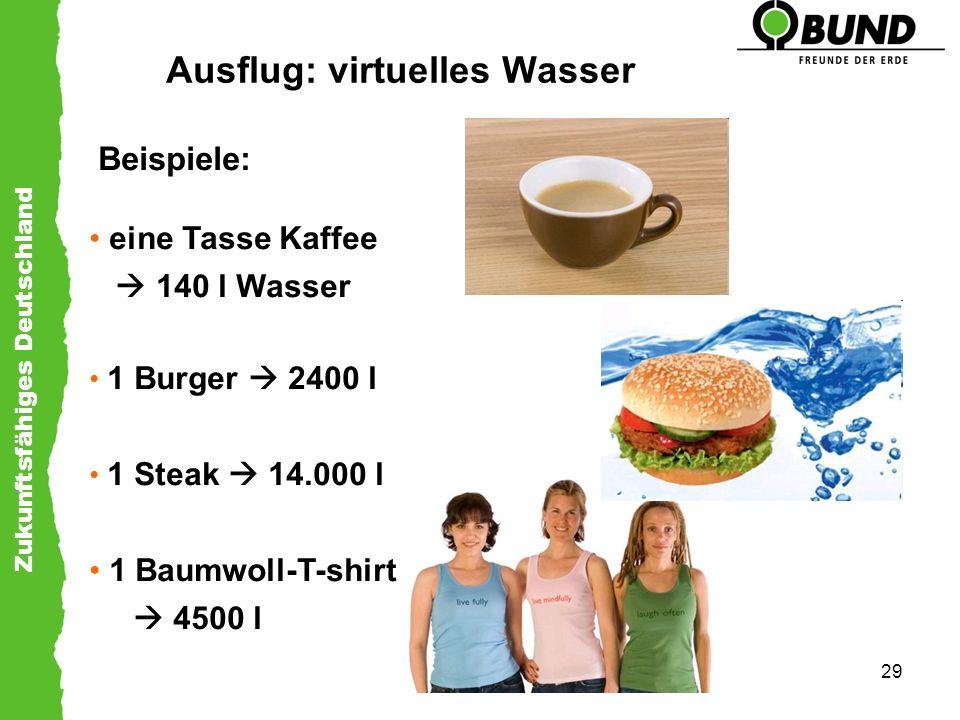 Zukunftsfähiges Deutschland 29 Ausflug: virtuelles Wasser Beispiele: eine Tasse Kaffee 140 l Wasser 1 Burger 2400 l 1 Steak 14.000 l 1 Baumwoll-T-shir