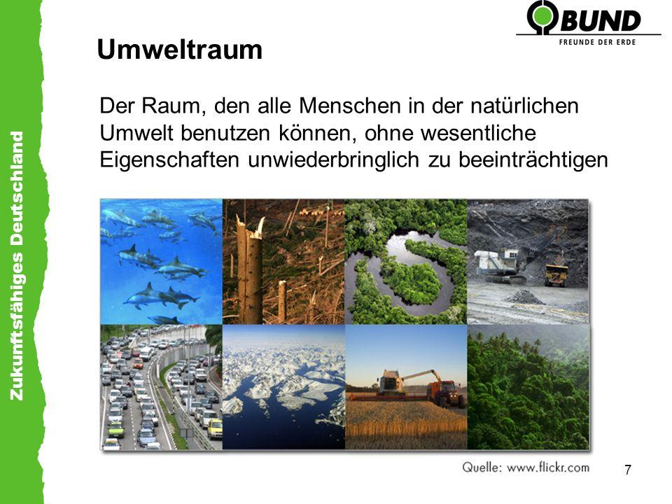 Zukunftsfähiges Deutschland 8 Leitlinien für die Ressourcennutzung –Erneuerbare Ressourcen nur in dem Maße nutzen, in dem eine Regeneration möglich ist –Nur so viele Emissionen, wie die Umwelt aufnehmen kann –Minimierung nicht-erneuerbarer Ressourcen –Zeitmaß menschlicher Eingriffe im Einklang mit natürlichen Prozessen –Gleicher Zugang und Nutzung der Ressourcen für alle Menschen
