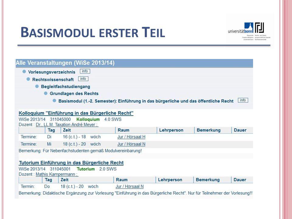 B ASISMODUL ERSTER T EIL