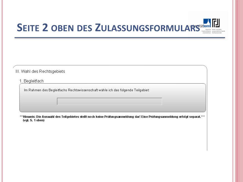 S EITE 2 OBEN DES Z ULASSUNGSFORMULARS