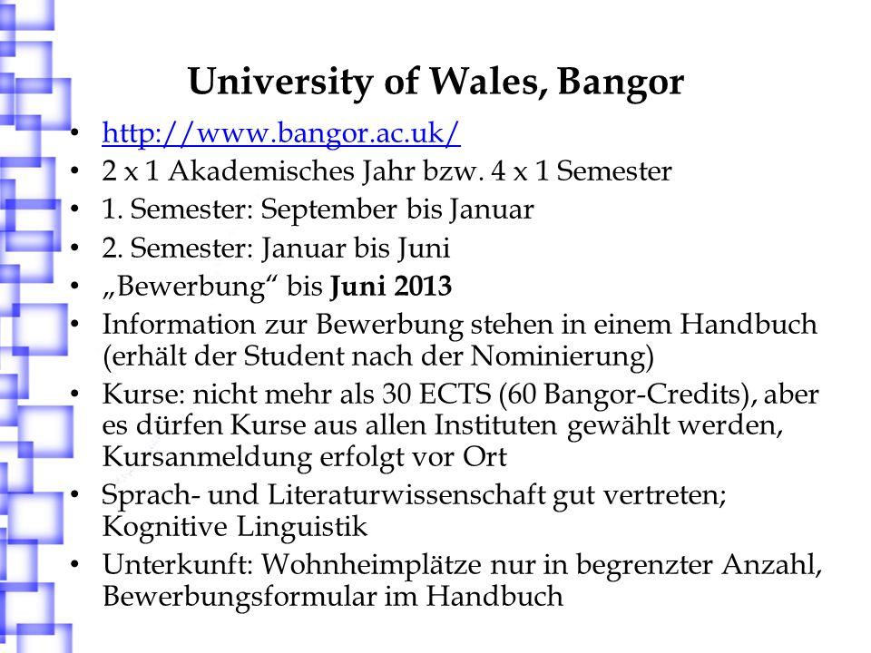 University of Aberdeen http://www.abdn.ac.uk/ 2 x 1 Akademisches Jahr bzw.