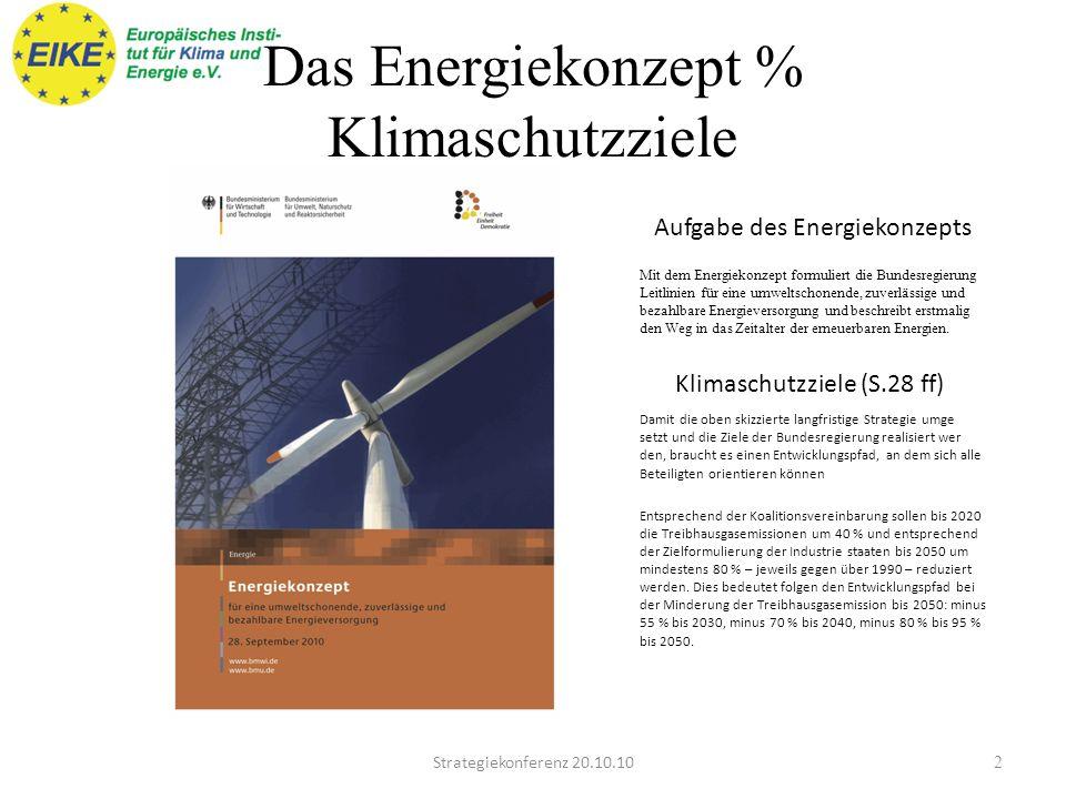Das Energiekonzept % Klimaschutzziele Strategiekonferenz 20.10.102 Aufgabe des Energiekonzepts Mit dem Energiekonzept formuliert die Bundesregierung Leitlinien für eine umweltschonende, zuverlässige und bezahlbare Energieversorgung und beschreibt erstmalig den Weg in das Zeitalter der erneuerbaren Energien.
