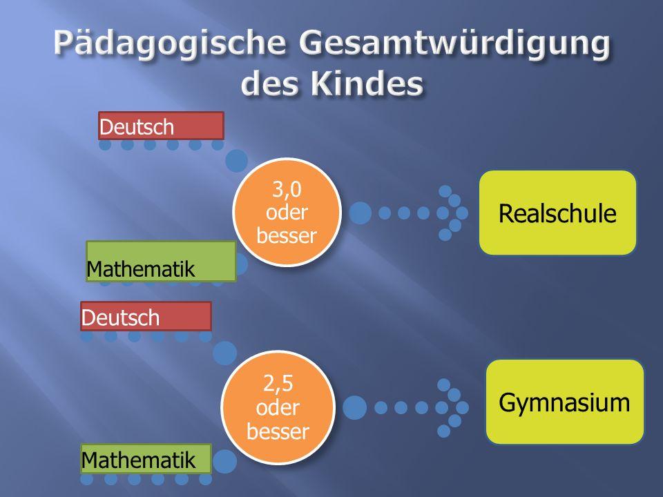 3,0 oder besser Deutsch Mathematik 2,5 oder besser Deutsch Mathematik Realschule Gymnasium