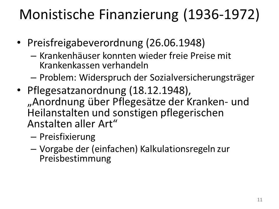 Monistische Finanzierung (1936-1972) Preisfreigabeverordnung (26.06.1948) – Krankenhäuser konnten wieder freie Preise mit Krankenkassen verhandeln – P