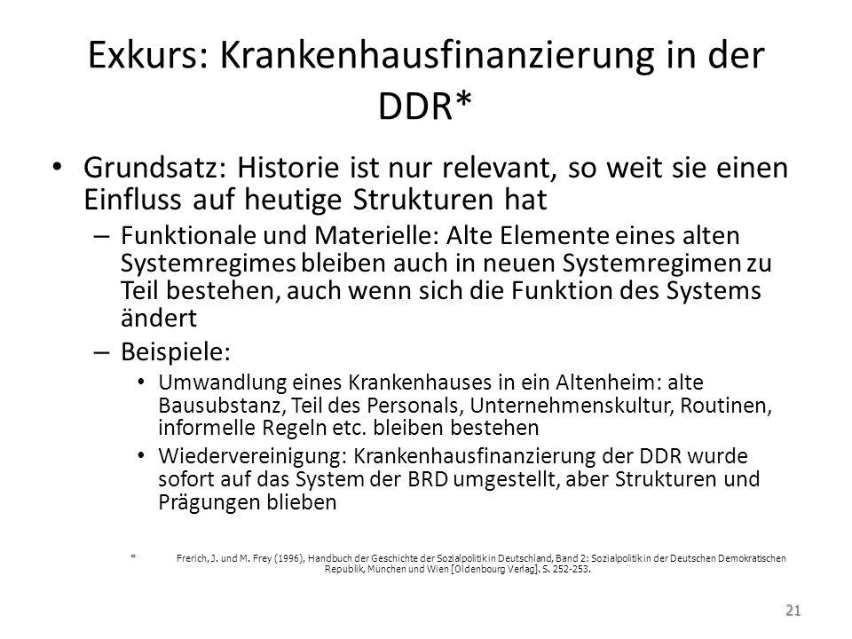 Exkurs: Krankenhausfinanzierung in der DDR* Grundsatz: Historie ist nur relevant, so weit sie einen Einfluss auf heutige Strukturen hat – Funktionale