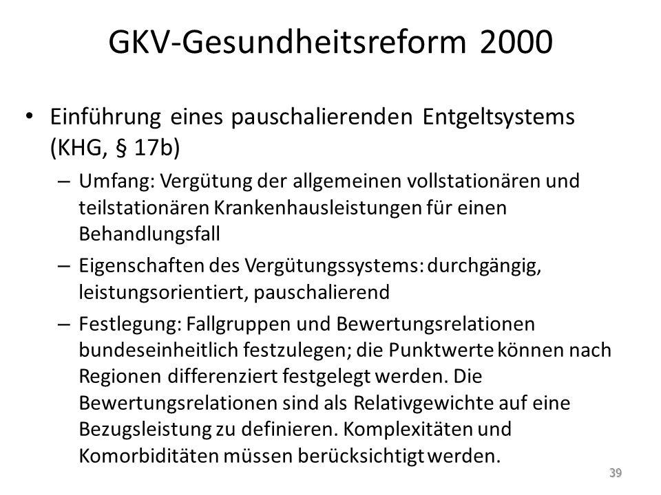 GKV-Gesundheitsreform 2000 Einführung eines pauschalierenden Entgeltsystems (KHG, § 17b) – Umfang: Vergütung der allgemeinen vollstationären und teils