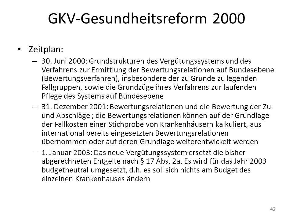 GKV-Gesundheitsreform 2000 Zeitplan: – 30. Juni 2000: Grundstrukturen des Vergütungssystems und des Verfahrens zur Ermittlung der Bewertungsrelationen