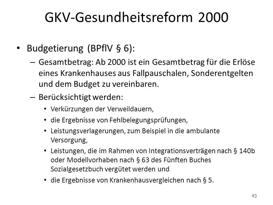 GKV-Gesundheitsreform 2000 Budgetierung (BPflV § 6): – Gesamtbetrag: Ab 2000 ist ein Gesamtbetrag für die Erlöse eines Krankenhauses aus Fallpauschale