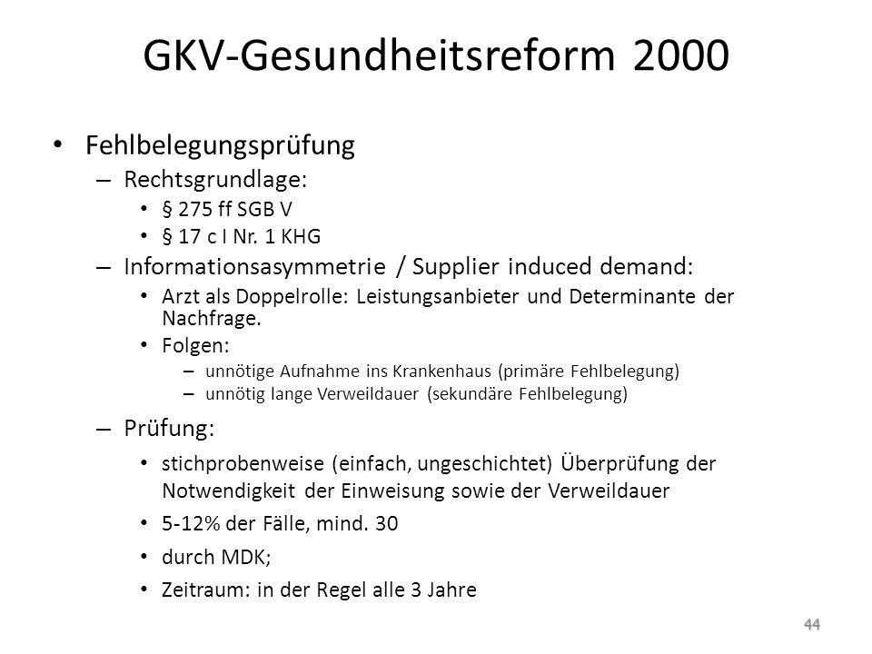 GKV-Gesundheitsreform 2000 Fehlbelegungsprüfung – Rechtsgrundlage: § 275 ff SGB V § 17 c I Nr. 1 KHG – Informationsasymmetrie / Supplier induced deman