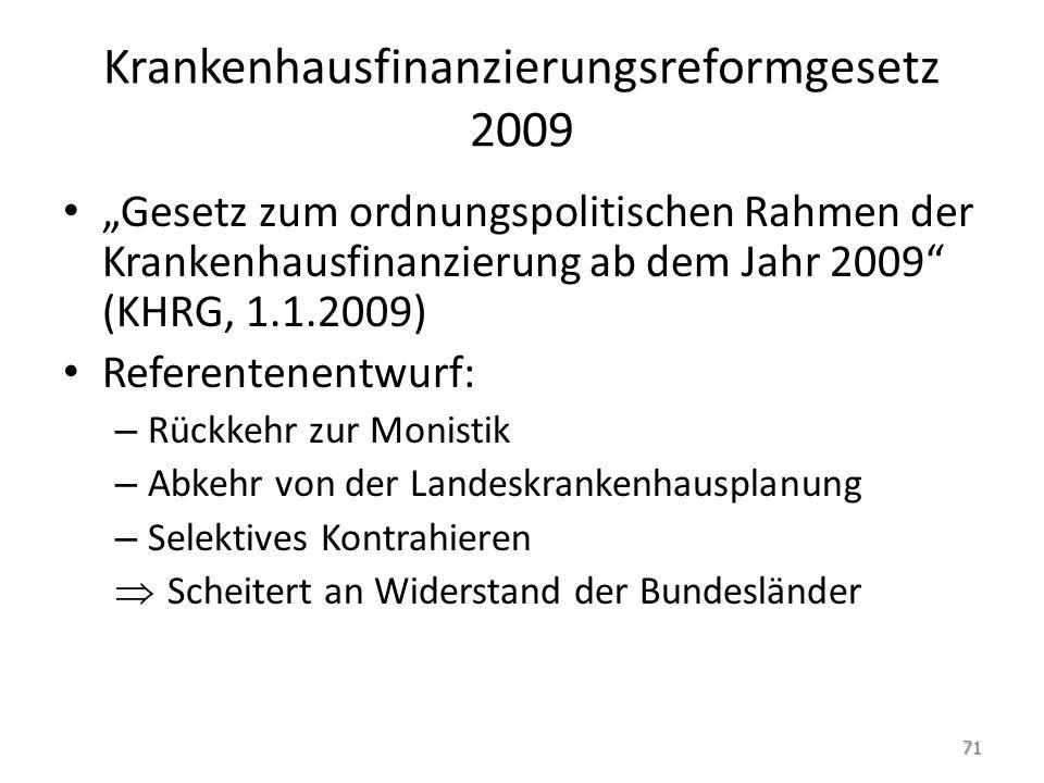 Krankenhausfinanzierungsreformgesetz 2009 Gesetz zum ordnungspolitischen Rahmen der Krankenhausfinanzierung ab dem Jahr 2009 (KHRG, 1.1.2009) Referent