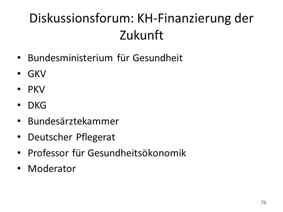 Diskussionsforum: KH-Finanzierung der Zukunft Bundesministerium für Gesundheit GKV PKV DKG Bundesärztekammer Deutscher Pflegerat Professor für Gesundh