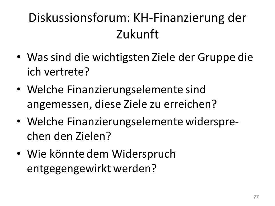 Diskussionsforum: KH-Finanzierung der Zukunft Was sind die wichtigsten Ziele der Gruppe die ich vertrete? Welche Finanzierungselemente sind angemessen
